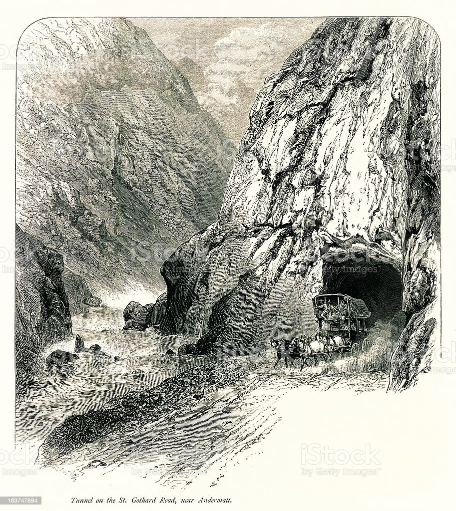 Tunnel on the St. Gothard Road, near Andermatt, Switzerland vector art illustration