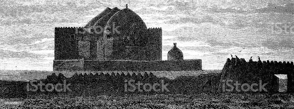 Turkestan mosque vector art illustration