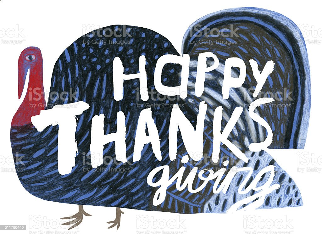 Turkey and happy thanks giving message vector art illustration