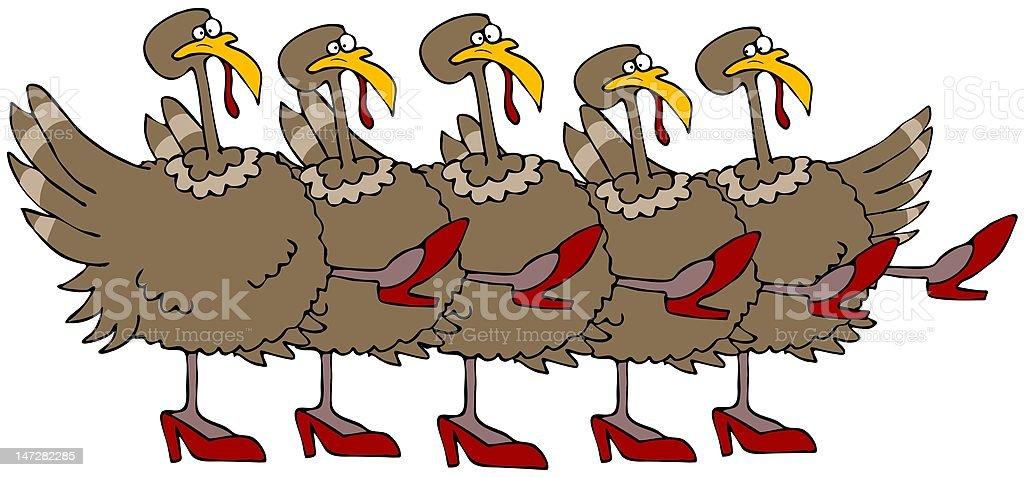 Turkey Chorus Line vector art illustration