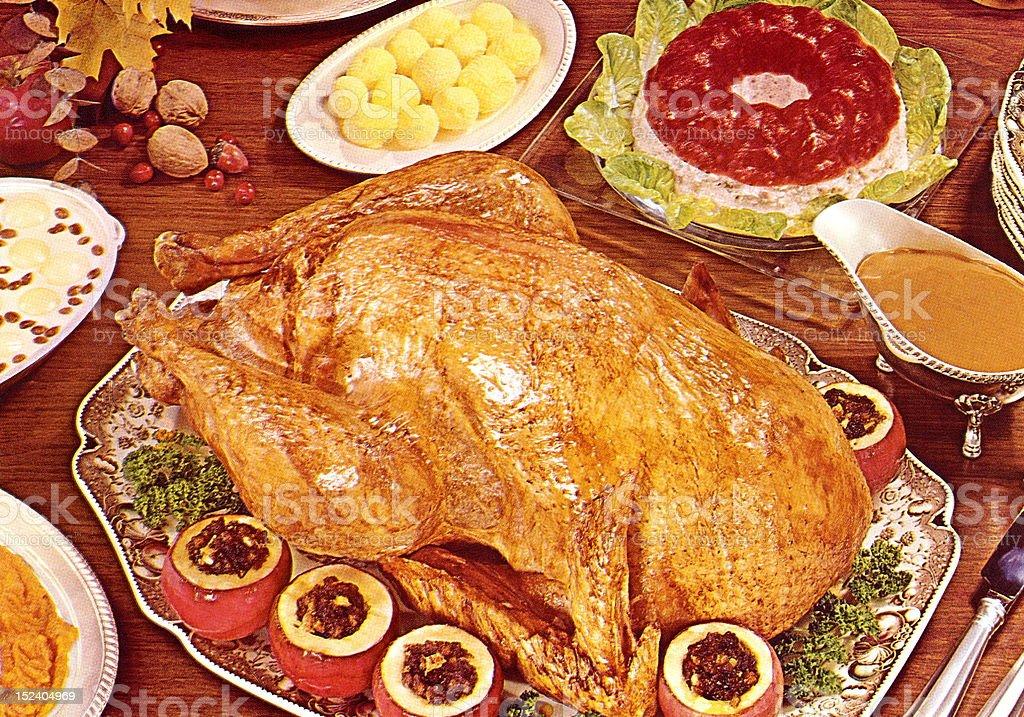 Turkey Dinner vector art illustration