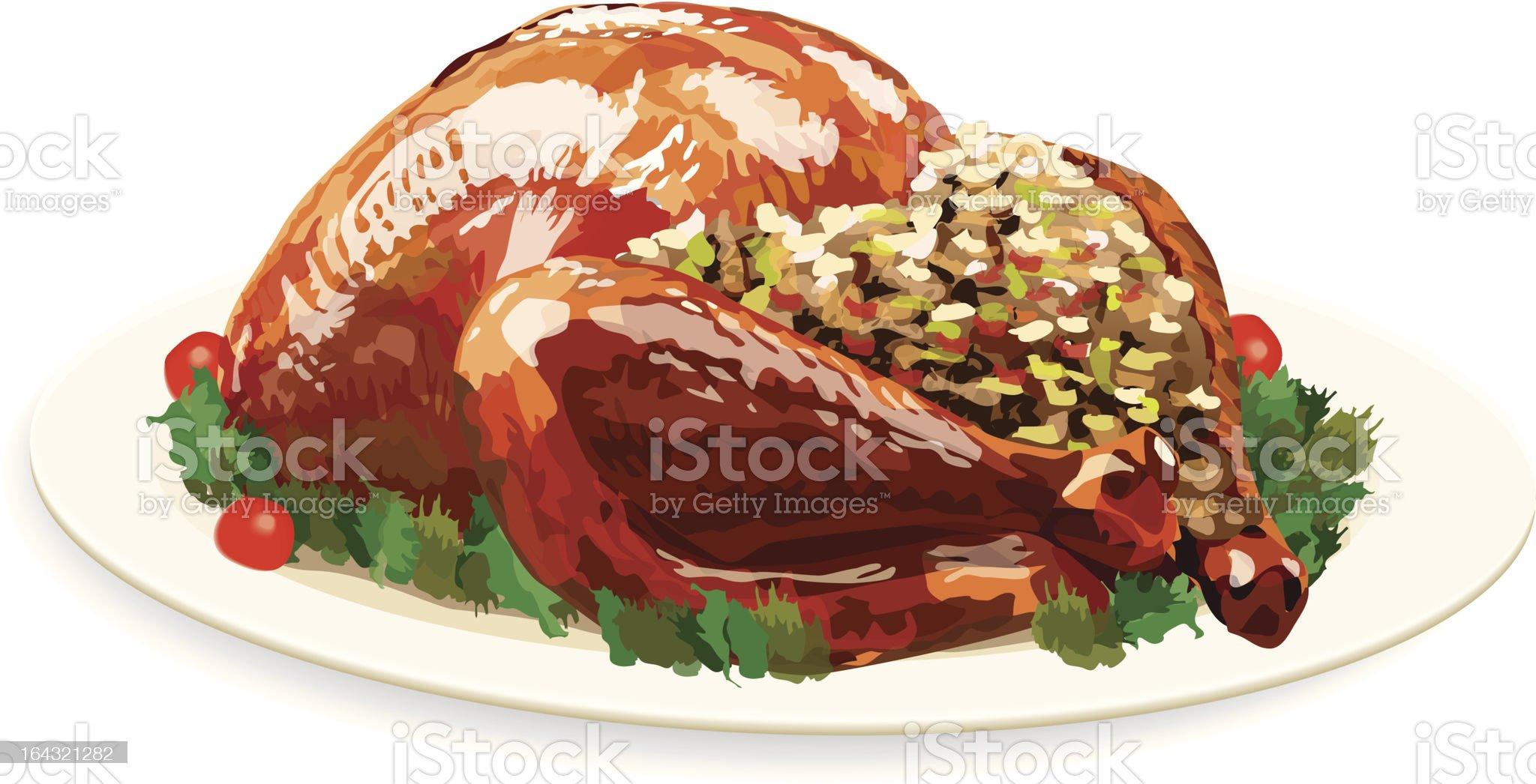 Turkey Dinner on a Platter royalty-free stock vector art