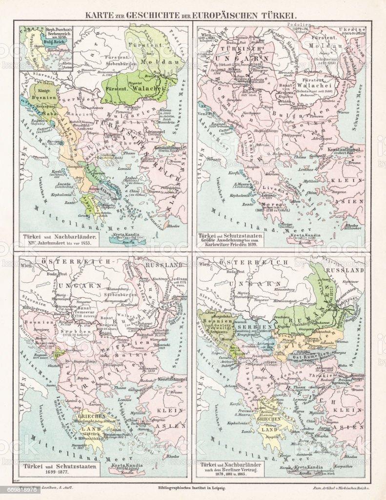 Turkey  Ottoman Empire map 1895 vector art illustration
