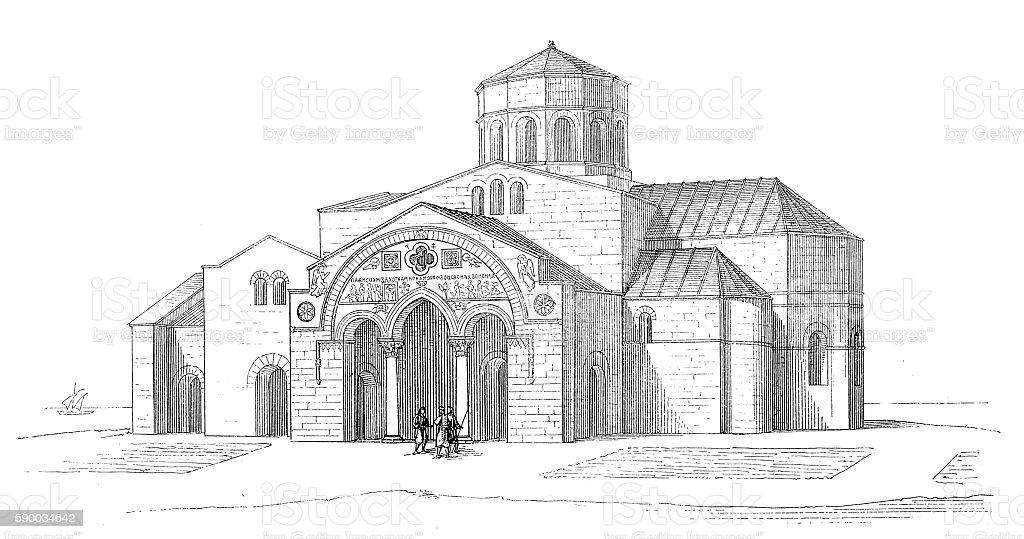 Turkey. Trabzon. The church of Hagia Sophia vector art illustration