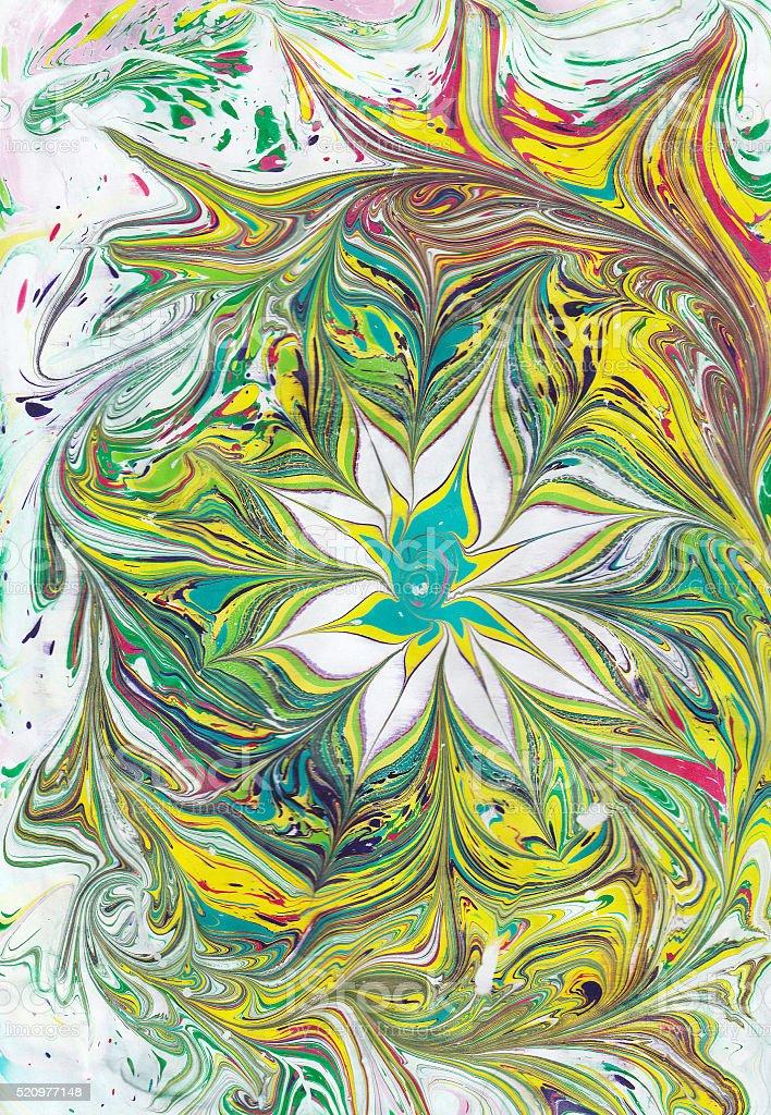 Turco Ebru arte. L'acqua è attratto, poi trasferito alla carta illustrazione royalty-free