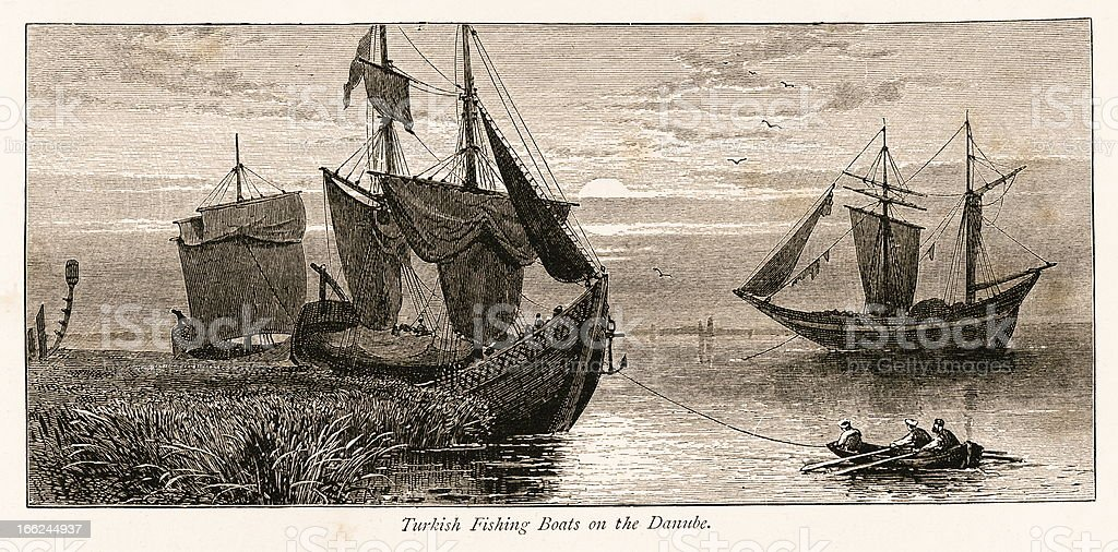 Turkish fishing boats on the Danube River (antique wood engraving) vector art illustration