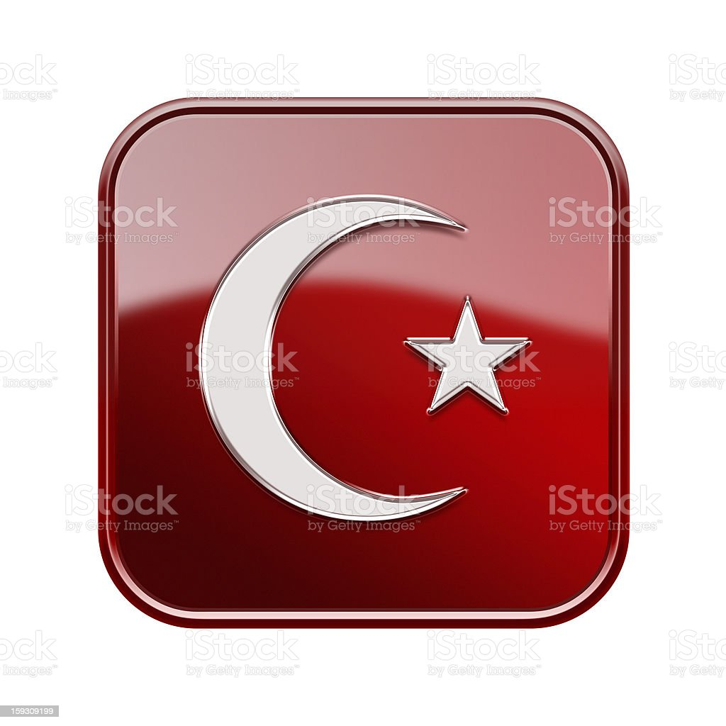 Turkish icon glossy red, isolated on white background royalty-free stock vector art