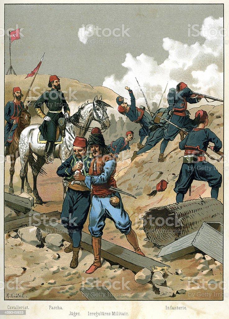 Turkish Ottoman Military vector art illustration