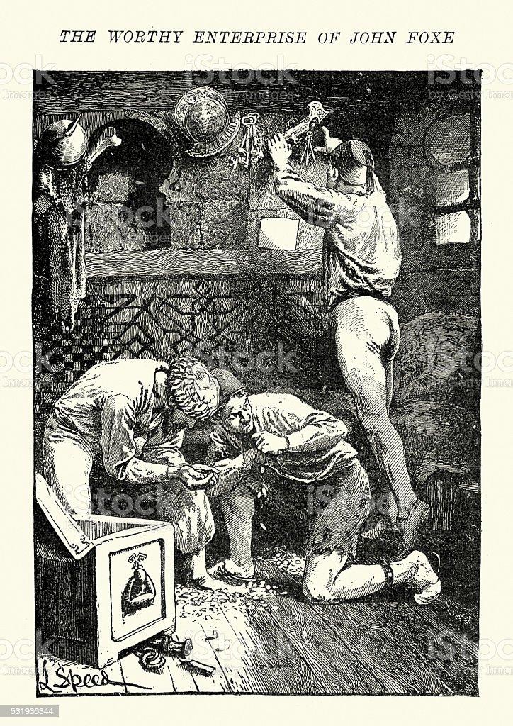 Turkish Pirates looting treasure, 16th Century vector art illustration
