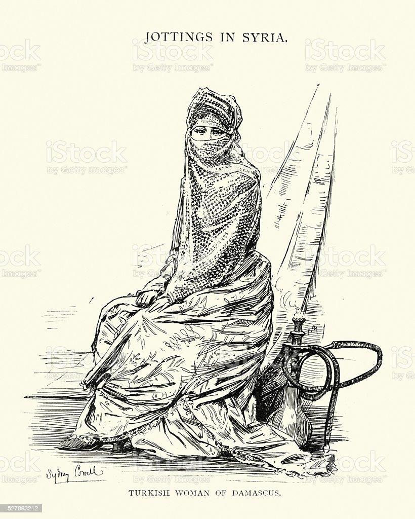 Turkish woman of Damascus, Syria, 19th Century vector art illustration