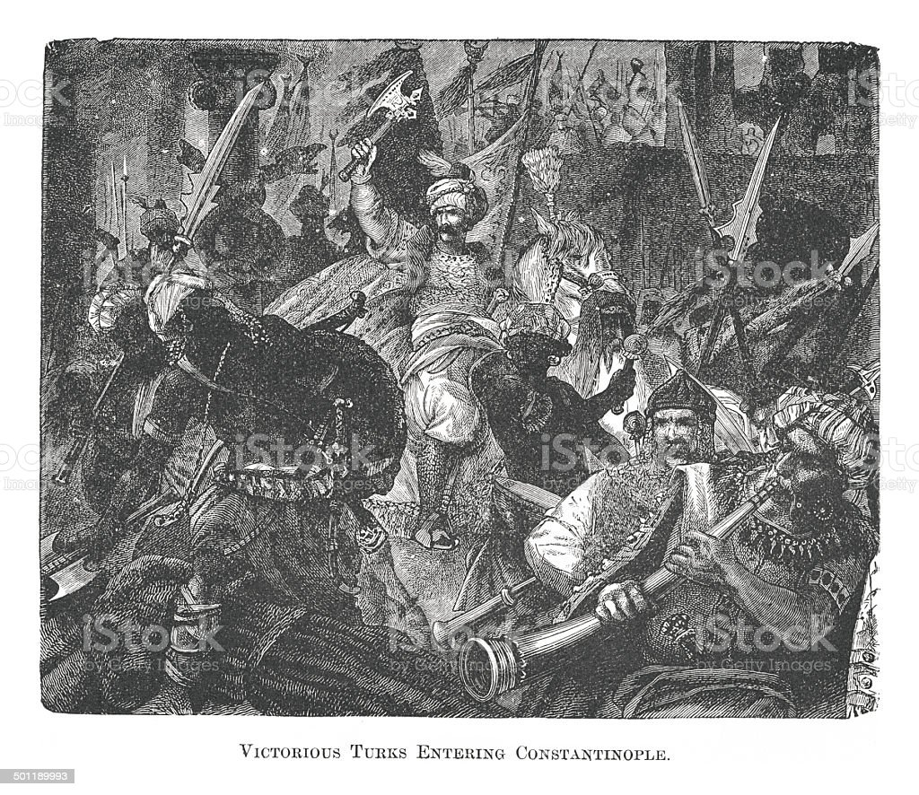 Turks Entering Constantinople (antique engraving) royalty-free stock vector art