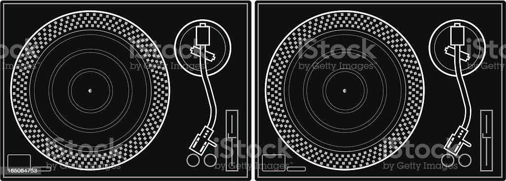 Turntables vector art illustration