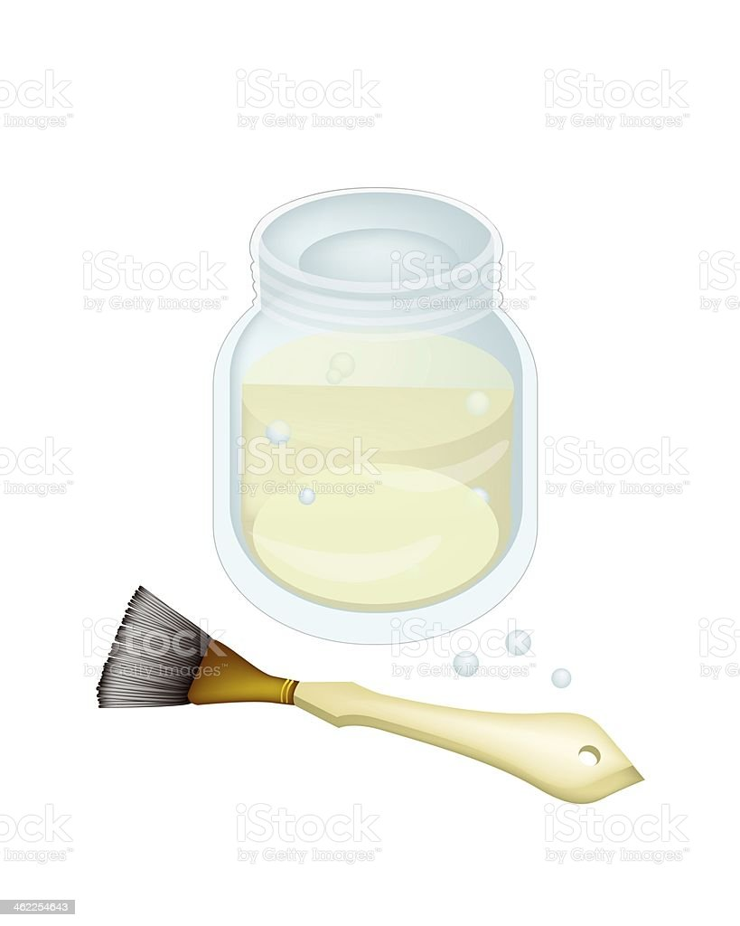 Turpentine or Linseed Oil with Artist Brushes vector art illustration