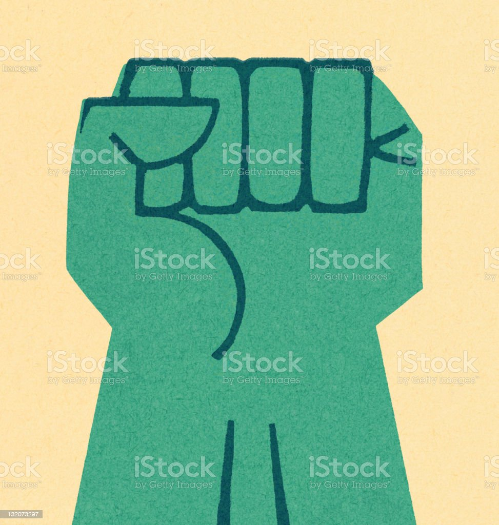 Turqouise Fist Raised royalty-free stock vector art