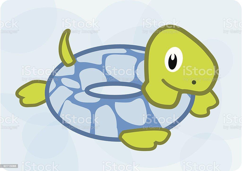 Turtle Swimming Floatie vector art illustration