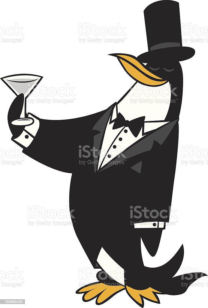 tuxedo penguin vector art illustration