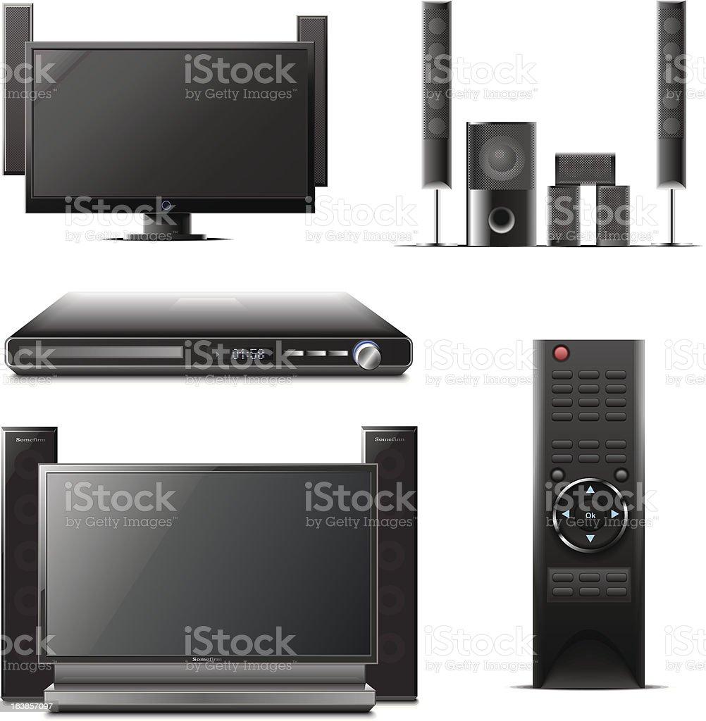 tv and home cinema vector art illustration
