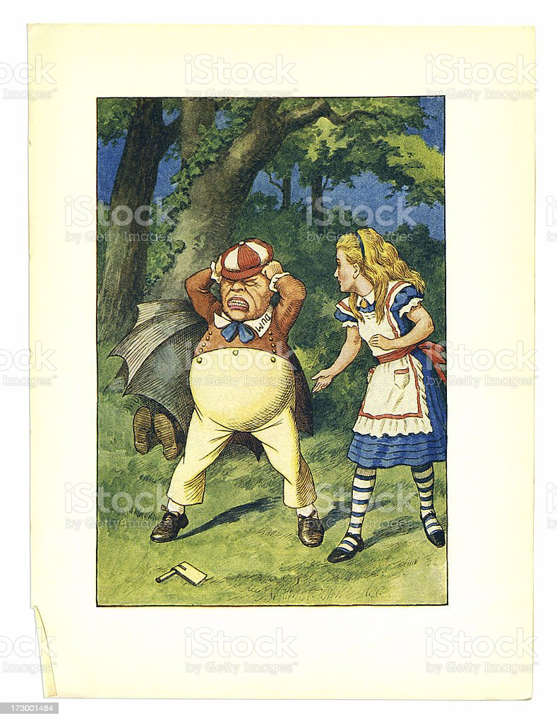 tweedledum and Alice illustration, (Alice's Adventures in Wonderland) royalty-free stock vector art