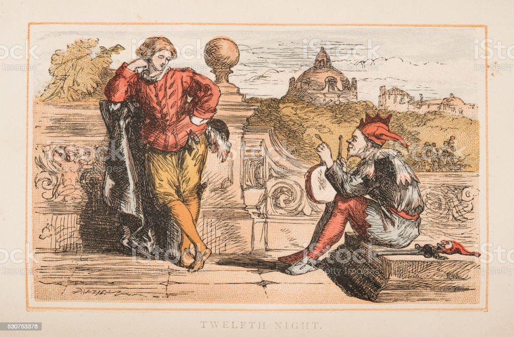 Twelfth Night by Shakespeare engraving 1870 stock photo