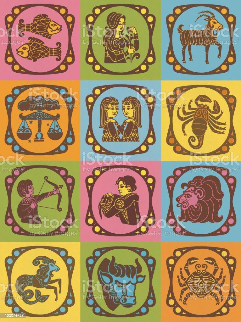 Twelve Zodiac Symbols vector art illustration