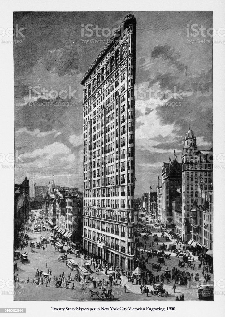 Twenty Story Skyscraper in New York City Victorian Engraving, 1900 vector art illustration