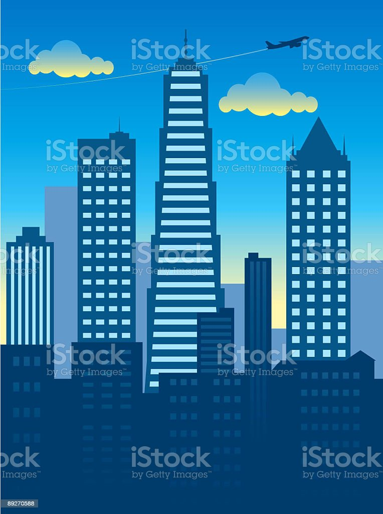 Twilight cityscape vector art illustration
