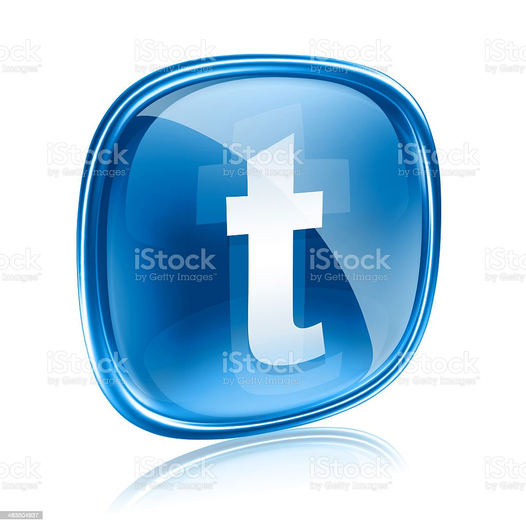 Twitter icon glass blue, isolated on white background royalty-free stock vector art