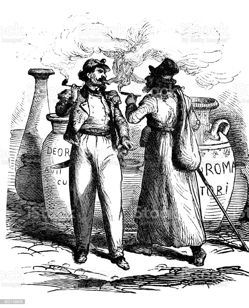 Two adult men, smoking outdoor, making a lot of smoke, surrounded by antique vases with inscriptions vector art illustration