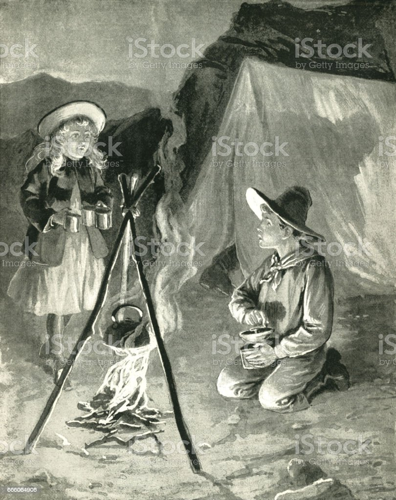 Two American children beside a camp fire vector art illustration
