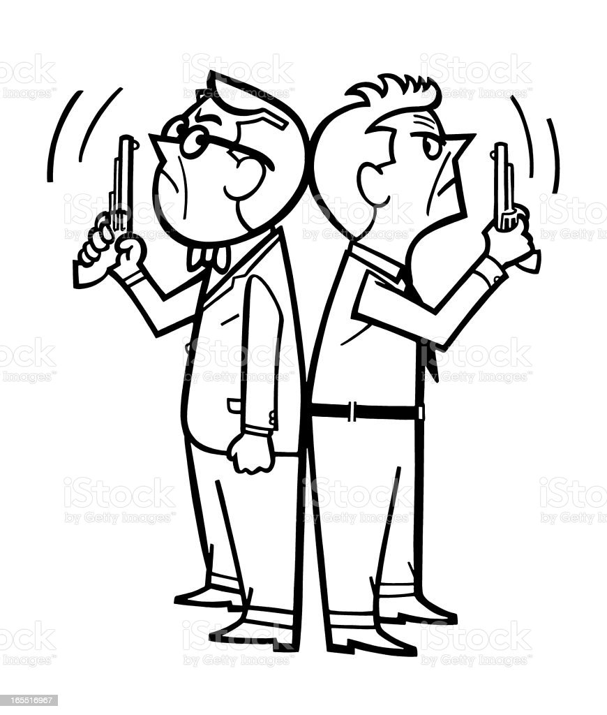 Two Angry Men with Handguns royalty-free stock vector art