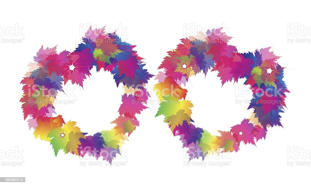 Two Beautiful Heart From Colorful Maple Leaves royalty-free stock vector art