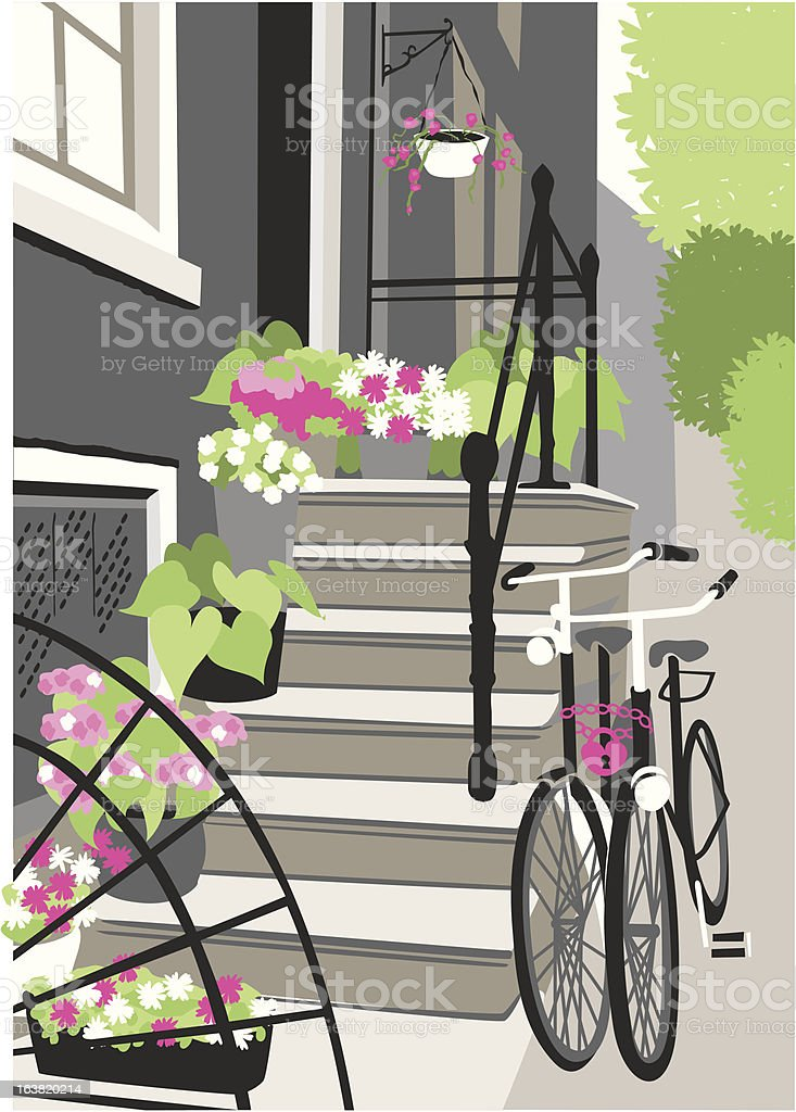 two bicycles vector art illustration