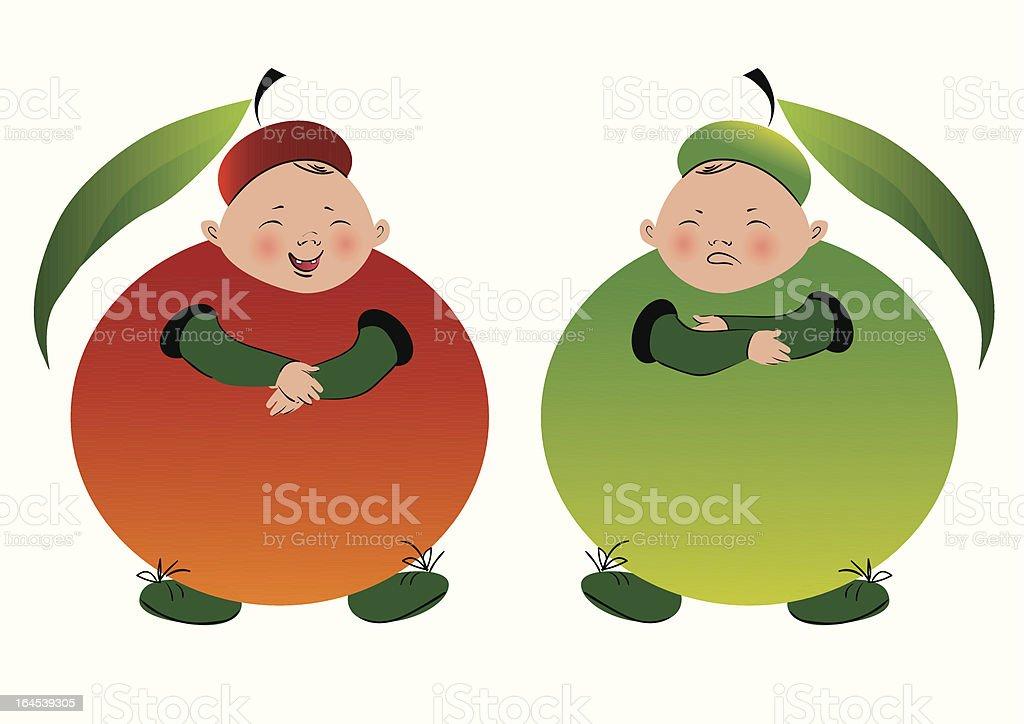 Dois garotos em roupas de maçã vetor e ilustração royalty-free royalty-free