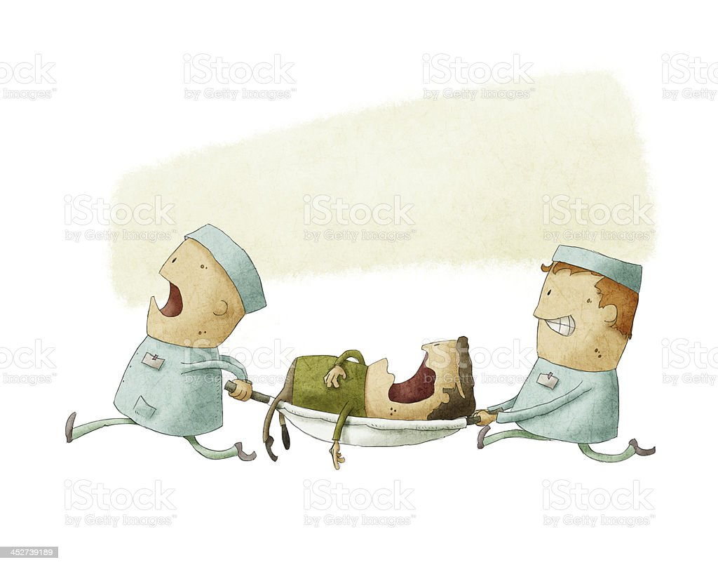 Two cartoon paramedics carry a patient on a stretcher vector art illustration
