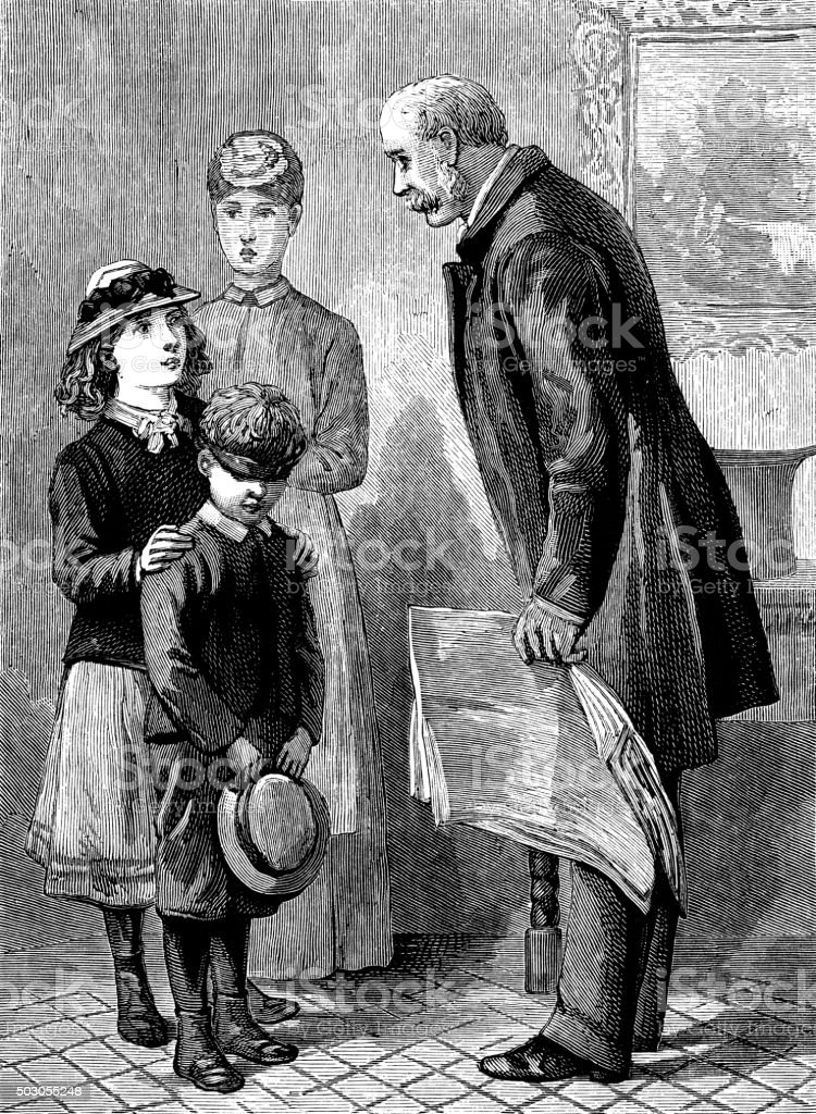 Two children being introduced to a Victorian gentleman vector art illustration
