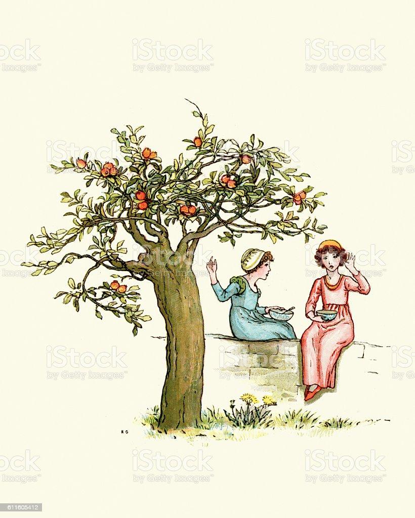 Two children under the orange tree vector art illustration