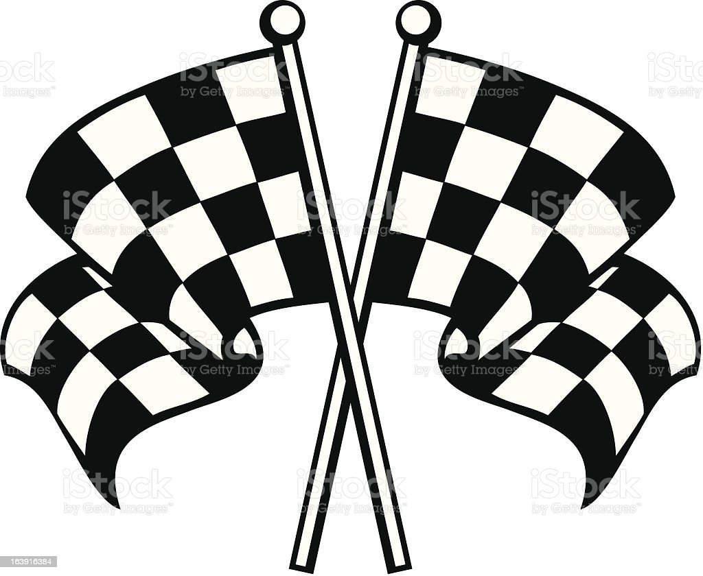 two crossed checkered flags vector art illustration