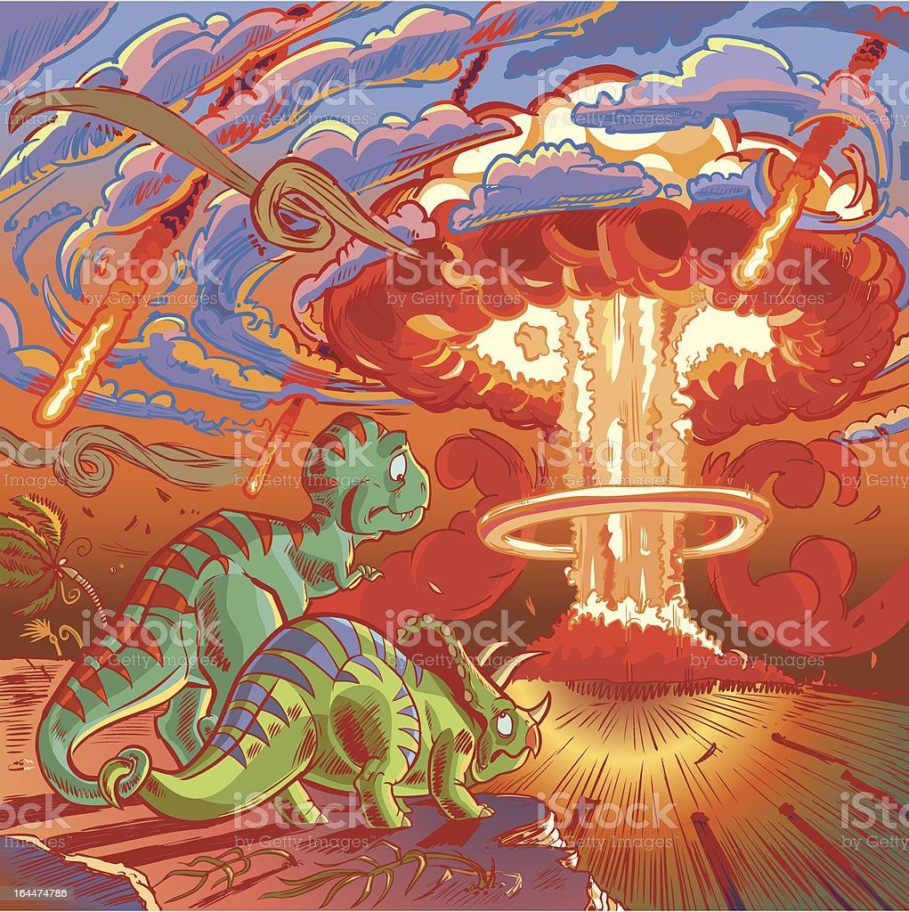 Two Dinosaurs Watch the Apocalypse vector art illustration
