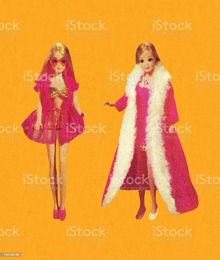 Two Dolls in Nightgowns royalty-free stock vector art