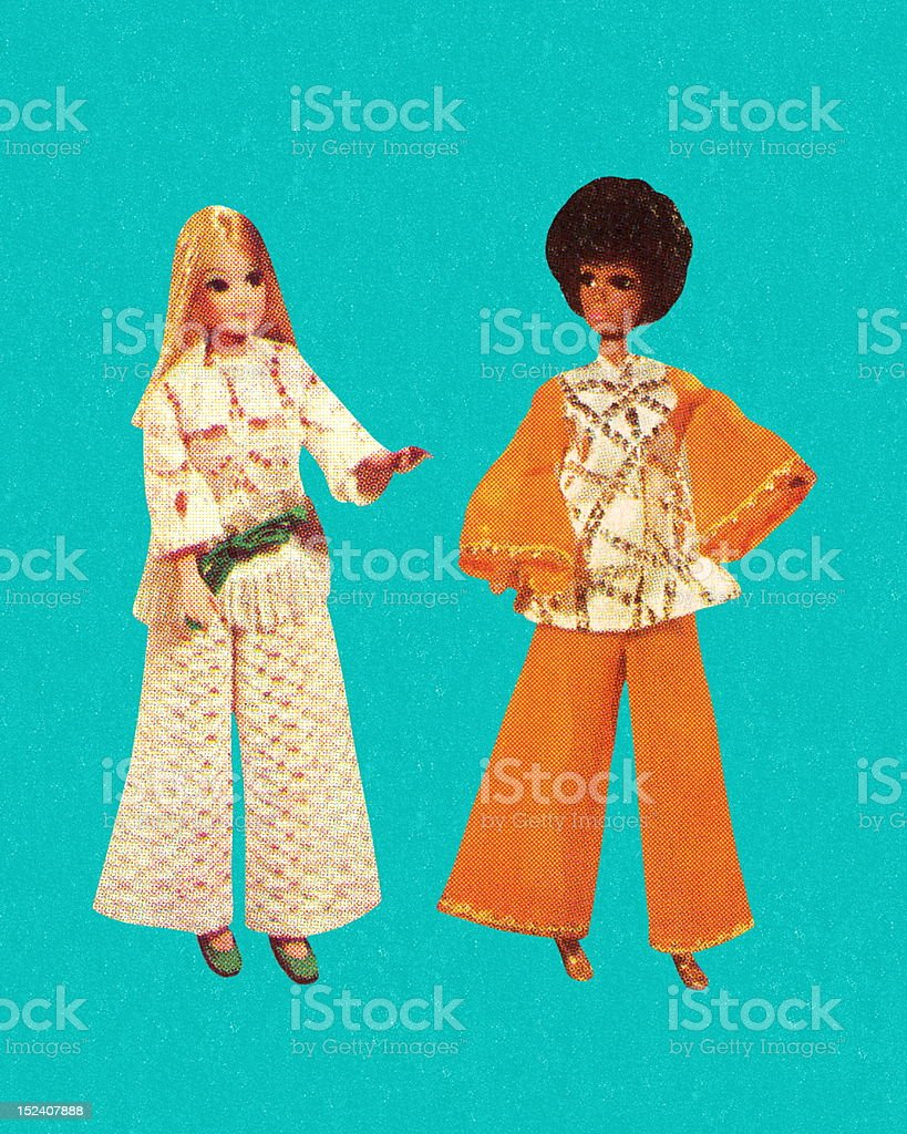 Two Dolls Wearing Groovy Outfits royalty-free stock vector art