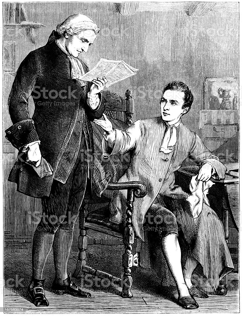 Two eighteenth-century gentlemen discussing a newspaper article (Victorian illustration) royalty-free stock vector art