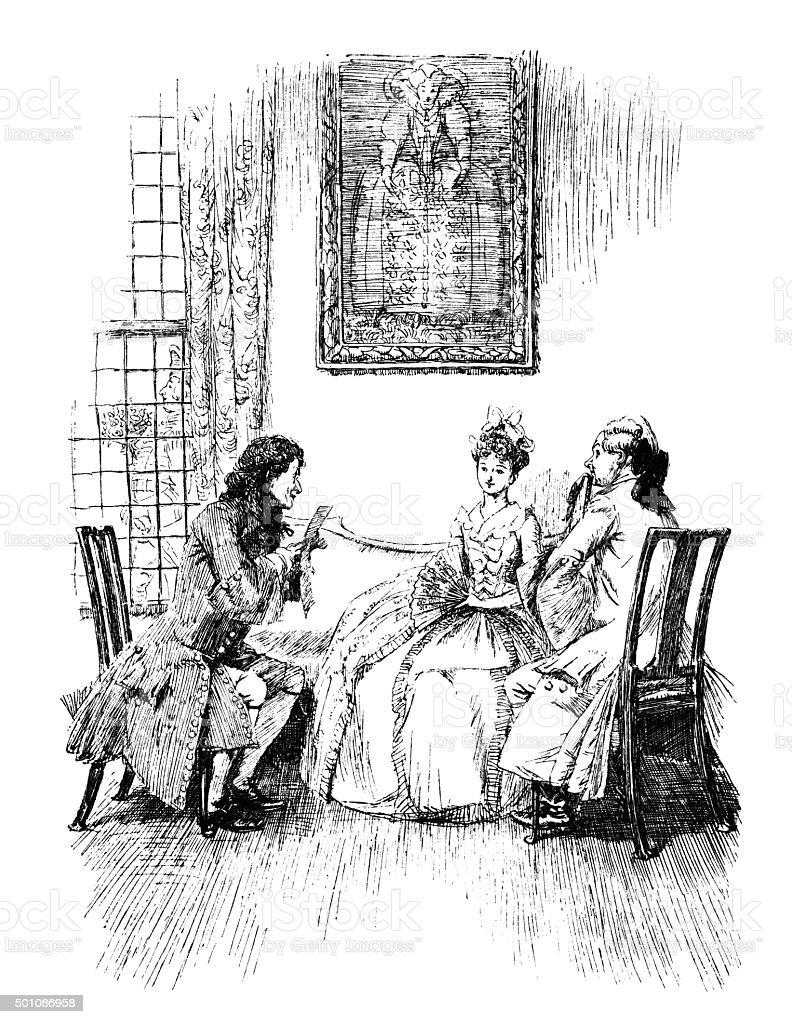 Two elegant eighteenth century men flattering a lady vector art illustration