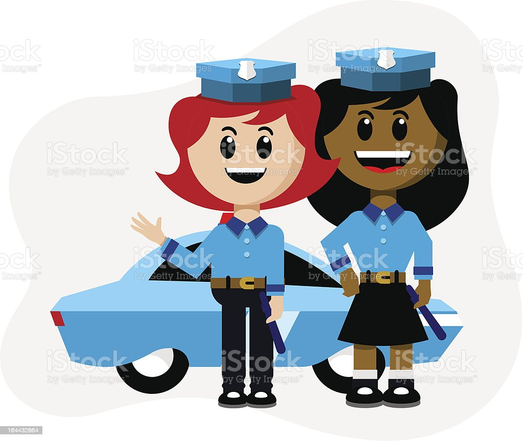 Two Female Cops With Patrol Car royalty-free stock vector art
