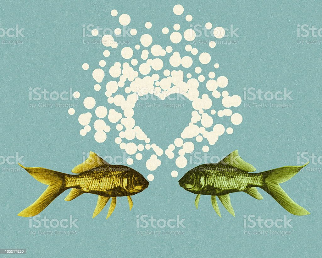 Two Fish and Bubble Heart royalty-free stock vector art