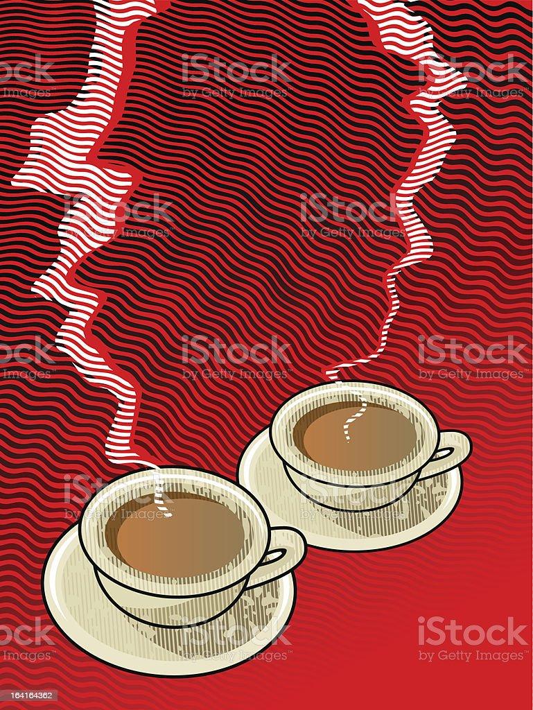 two for tea vector art illustration