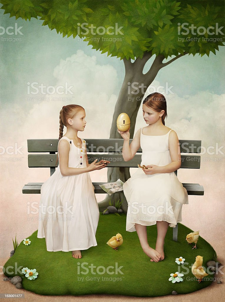 Two girls, who open the egg. royalty-free stock vector art