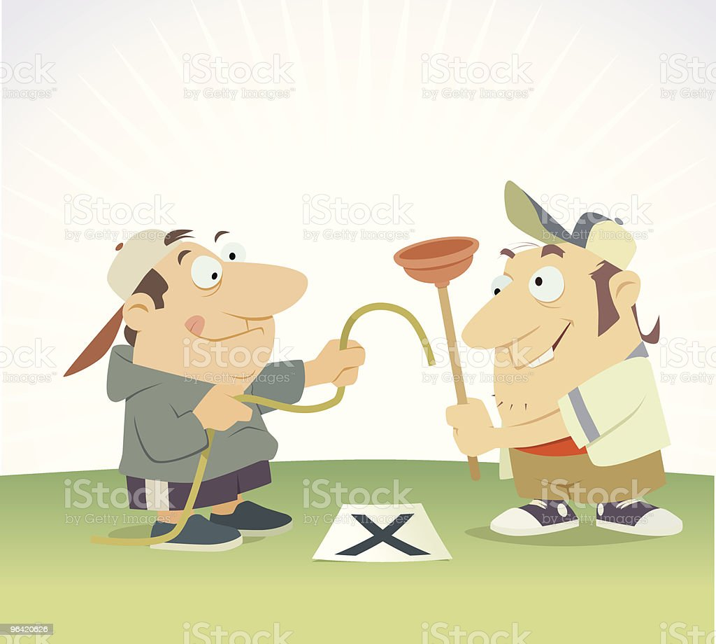 Two halfwits make a hole royalty-free stock vector art