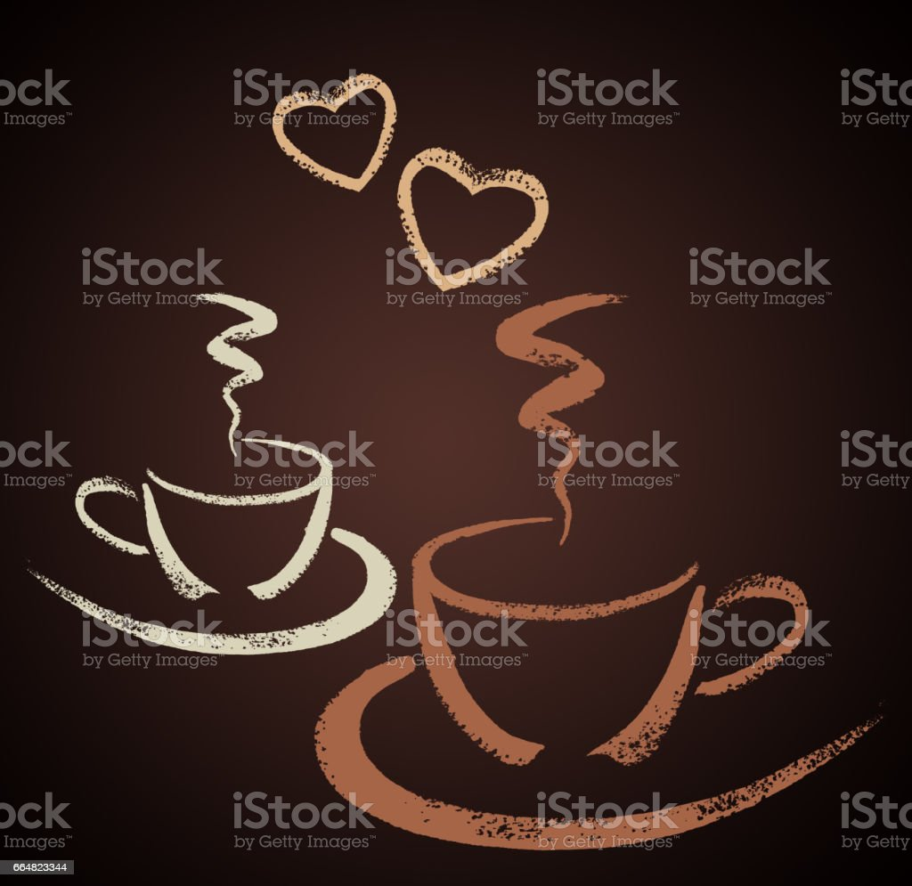 Two hand drawn coffee cups with heart shapes vector art illustration