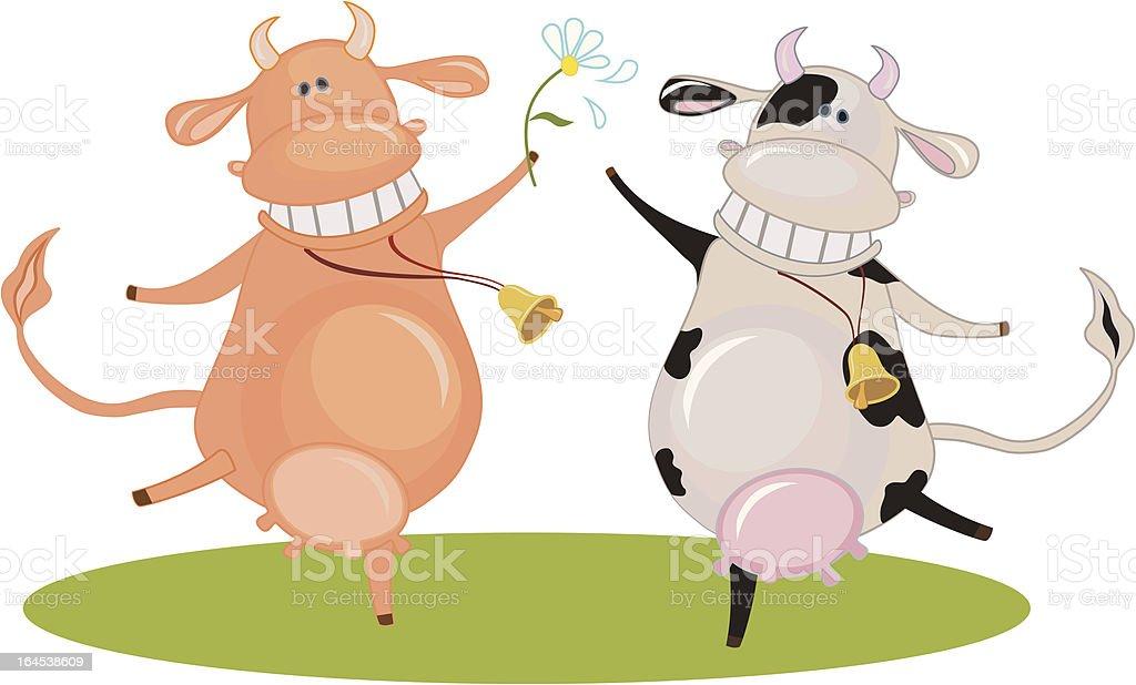 Duas vacas felizes dançando vetor e ilustração royalty-free royalty-free