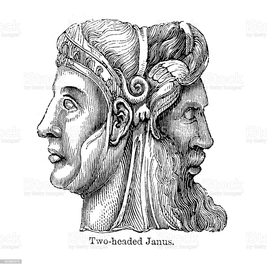 Two Headed Janus vector art illustration